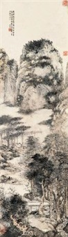 踈林清溪图 (landscape) by wen dian