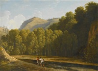 an italianate wooded landscape with two fishermen by a stream by pierre henri de valenciennes