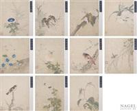 tusche und farbe auf seide, montiert, darstellung von blumen, vögeln oder schmetterling usw. (11 works) by zhou zhimian
