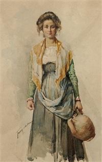 italienisches bauernmädchen mit wasserkrug (+ frauenköpfe (study), verso) by francesco de maria
