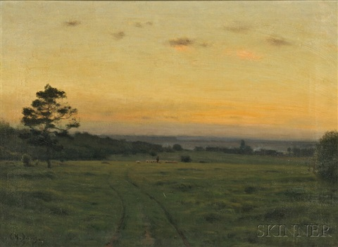 shepherd with flock at twilight by charles harold davis
