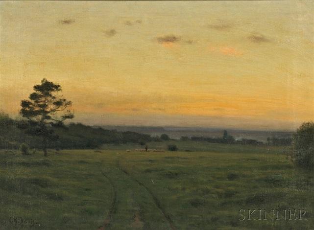 shepherd with flock at twilight by charles harold davis