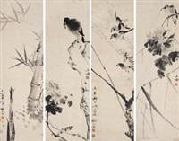 花鸟 (birds and flowers) (in 4 parts) by liu zigu