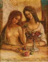 jeunes filles nues en conversation by guy cambier