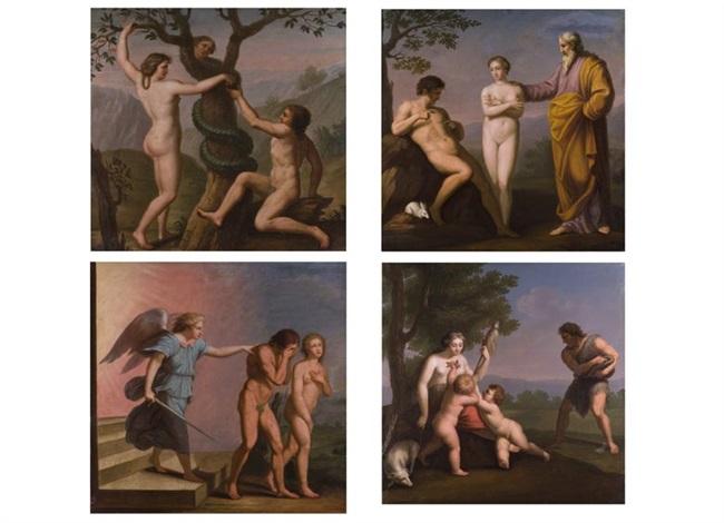 bilderserie von vier darstellungen aus dem biblischen adam und eva thema by andrea appiani