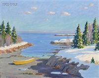 maine inlet in winter by john nichols haapanen