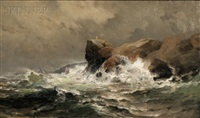 waves crashing against rocks by mauritz frederick hendrick de haas