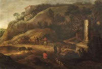 a hilly landscape with figures on a track near ancient ruins by charles cornelisz de hooch
