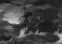 a frigate in stormy seas by george philip reinagle