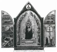 anbetung der hirten, maria mit dem kind,    christus am kreuz by bernardo daddi