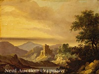 two highland travelers contemplating the ruins of castle campbell, over the burn at dollar glen by julius caesar ibbetson