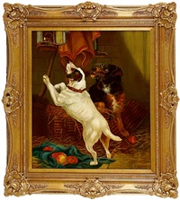 two terriers catching a rat in a barn by edward alstrop