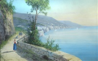 the bay of naples with vesuvius in the background (3 works) by y. gianni