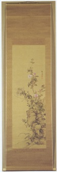 wild roses and chrysanthemums by yamamoto baiitsu