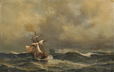 sailing ships in heavy seas by daniel hermann anton melbye