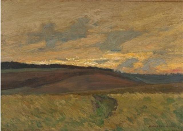 hügelige landschaft bei sonnenuntergang by d ackermann