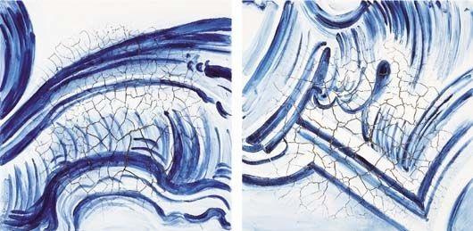 azulejão - ondas (diptych) by adriana varejão