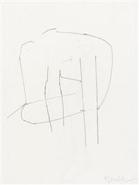 zwei bildhauerzeichnungen (sitzender akt. abstrakte form) (2 works) by rudolf wachter
