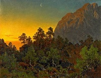 norwegian landscape with waning moon by joachim frich