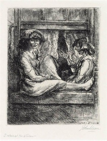 sisters at a window by john french sloan