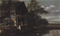 a river landscape with a laundry maid before a cottage by gillis rombouts