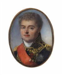 louis alexandre berthier, 1st prince of wagram, 1st duke of valangin and 1st sovereign prince of neuchâtel (1753-1815), in blue coat embroidered with gold oak leaves, gold epaulettes, white stock by jean baptiste jacques augustin