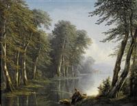 idyllische flusslandschaft mit einem fischer by isidore dagnan
