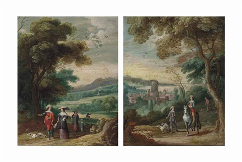 a wooded landscape with an elegant company on a track and a wooded landscape with a hunting party a fortified town beyond pair by jan wildens