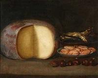 stillleben mit käse, fisch, muscheln und kastanien by jacob samuel beck