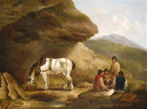 travellers and their horse resting by rocks by george morland