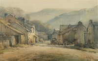 figures in a village street by arthur reginald smith
