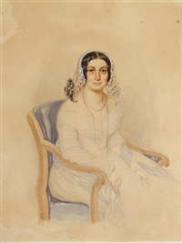 a lady, seated and wearing, white décolleté dress with lace trim, pale blue stole draped around her arms, double-stranded pearl necklace, gold... (study) by josef zumsande