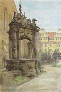 der hauptplatz von merseburg mit stadtbrunnen by leo reiffenstein