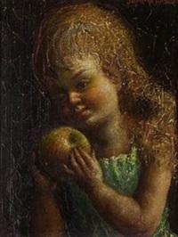 niña con manzana by jaime de jaraiz