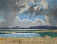 pintails over the menai straits, north wales by keith shackleton