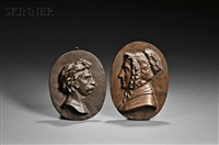 bas relief portrait plaques: thomas couture; profile of a woman in a ruffled cap, thought to be jane maria leavitt hunt (2 works) by william morris hunt