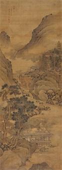山静日长图 (landscape) by huang yingchen