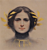 female bust with golden laurel wreath by janaczec