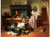 elegante dame mit kakadu in einem interieur mit stillebenarrangement by françois jacobs