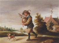 a landscape with a boor playing the bagpipes, together with a dog on a path by abraham teniers
