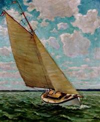 segelschiff bei starker brise by georg hesse
