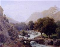 bjerglandskab med fiskende ved en flod by johann jakob vollweider