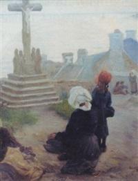 femmes au calvaire en bord de mer vers le cap sizun by alfred victor fournier