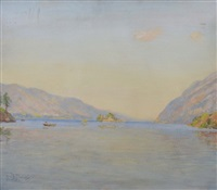 view of a loch with rowing boat and untitled (pair) (3 works) by sir david murray