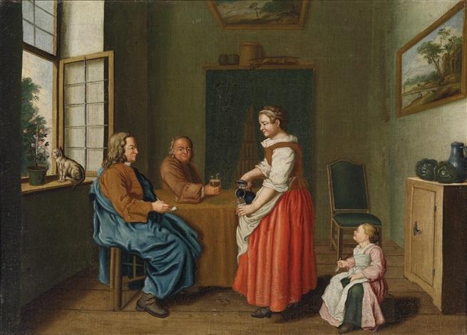 interieur mit zwei männern am tisch und einer magd die sie bedient by jan josef horemans the younger