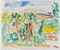 palmen vor villa in sorrent by hans purrmann