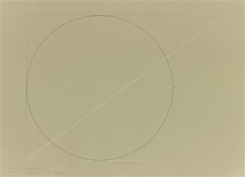 a triangle and a circle within a rectangle by robert mangold