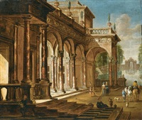 elegant figures before a palace with a fountain beyond by jacobus balthasar peeters