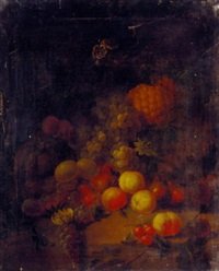 grapes, peaches, plums, pears, cherries, a melon, and a pineapple by joseph rhodes