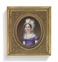 a lady, in mauve dress with gauze collar and trim, wearing a lace bonnet trimmed with ostrich plumes, pearl necklace by jean baptiste jacques augustin